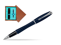 Parker Urban Classic Nightsky Blue Lacquer CT Rollerball Pen  single wooden box  Mahogany Single Turquoise