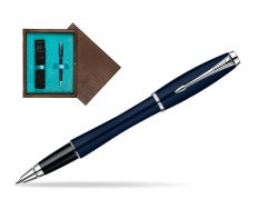 Parker Urban Classic Nightsky Blue Lacquer CT Rollerball Pen  single wooden box  Wenge Single Turquoise