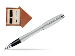 Parker Urban Fashion Fast Track Silver Lacquer CT Rollerball Pen  single wooden box  Mahogany Single Ecru