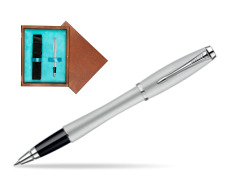 Parker Urban Fashion Fast Track Silver Lacquer CT Rollerball Pen  single wooden box  Mahogany Single Turquoise