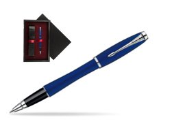 Parker Urban Fashion Bay City Blue Lacquer CT Rollerball Pen  single wooden box  Black Single Maroon