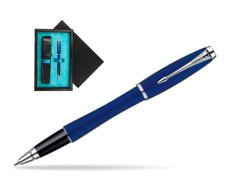 Parker Urban Fashion Bay City Blue Lacquer CT Rollerball Pen  single wooden box  Black Single Turquoise