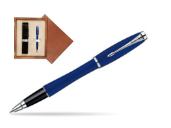 Parker Urban Fashion Bay City Blue Lacquer CT Rollerball Pen  single wooden box  Mahogany Single Ecru