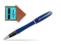 Parker Urban Fashion Bay City Blue Lacquer CT Rollerball Pen  single wooden box  Mahogany Single Turquoise