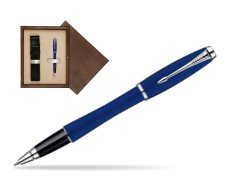 Parker Urban Fashion Bay City Blue Lacquer CT Rollerball Pen  single wooden box  Wenge Single Ecru