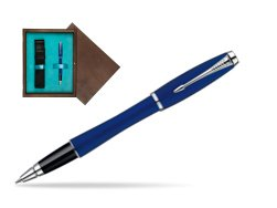 Parker Urban Fashion Bay City Blue Lacquer CT Rollerball Pen  single wooden box  Wenge Single Turquoise