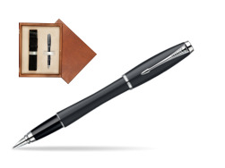 Parker Urban Classic Muted Black Lacquer CT Fountain Pen in single wooden box  Mahogany Single Ecru