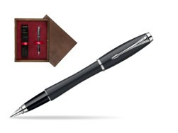 Parker Urban Classic Muted Black Lacquer CT Fountain Pen in single wooden box  Wenge Single Maroon