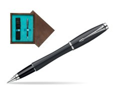 Parker Urban Classic Muted Black Lacquer CT Fountain Pen in single wooden box  Wenge Single Turquoise