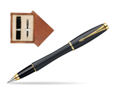 Parker Urban Classic Muted Black Lacquer GT Fountain Pen  single wooden box  Mahogany Single Ecru