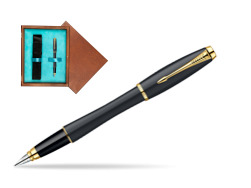 Parker Urban Classic Muted Black Lacquer GT Fountain Pen in single wooden box  Mahogany Single Turquoise
