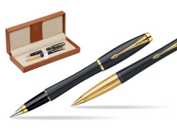 Parker Urban Classic Muted Black Lacquer GT Fountain Pen + Parker Urban Classic Muted Black Lacquer GT Ballpoint Pen in a Gift Box  in classic box brown