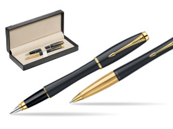 Parker Urban Classic Muted Black Lacquer GT Fountain Pen + Parker Urban Classic Muted Black Lacquer GT Ballpoint Pen in a Gift Box  in classic box  black