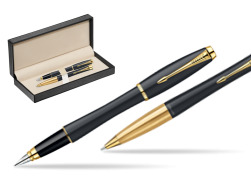 Parker Urban Classic Muted Black Lacquer GT Fountain Pen + Parker Urban Classic Muted Black Lacquer GT Ballpoint Pen in a Gift Box  in classic box  pure black