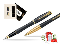 Parker Urban Classic Muted Black Lacquer GT Fountain Pen + Parker Urban Classic Muted Black Lacquer GT Ballpoint Pen in a Gift Box  Magic of Christmas