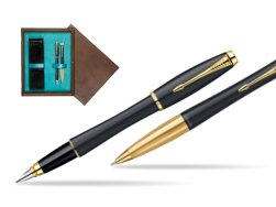 Parker Urban Classic Muted Black Lacquer GT Fountain Pen + Parker Urban Classic Muted Black Lacquer GT Ballpoint Pen in a Gift Box in double wooden box Wenge Double Turquoise