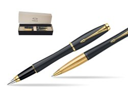 Parker Urban Classic Muted Black Lacquer GT Fountain Pen + Parker Urban Classic Muted Black Lacquer GT Ballpoint Pen in a Gift Box