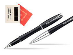 "Parker Urban Fashion London Cab Black Lacquer CT Fountain Pen + Parker Urban Fashion London Cab Black Lacquer CT Ballpoint Pen in a Gift Box in Gift Box ""Red Love"""
