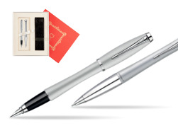 "Parker Urban Fashion Fast Track Silver Lacquer CT Fountain Pen + Parker Urban Fashion Fast Track Silver Lacquer CT Ballpoint Pen in a Gift Box in Gift Box ""Red Love"""
