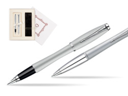 "Parker Urban Fashion Fast Track Silver Lacquer CT Fountain Pen + Parker Urban Fashion Fast Track Silver Lacquer CT Ballpoint Pen in a Gift Box in Gift Box ""Pure Love"""