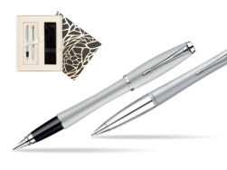Parker Urban Fashion Fast Track Silver Lacquer CT Fountain Pen + Parker Urban Fashion Fast Track Silver Lacquer CT Ballpoint Pen in a Gift Box in Standard Gift Box