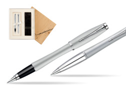 Parker Urban Fashion Fast Track Silver Lacquer CT Fountain Pen + Parker Urban Fashion Fast Track Silver Lacquer CT Ballpoint Pen in a Gift Box in Standard 2 Gift Box