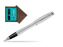 Parker Urban Fashion Fast Track Silver Lacquer CT Fountain Pen  single wooden box  Wenge Single Turquoise