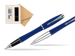 Parker Urban Fashion Bay City Blue Lacquer CT Fountain Pen + Parker Urban Fashion Bay City Blue Lacquer CT Ballpoint Pen in a Gift Box in Standard 2 Gift Box