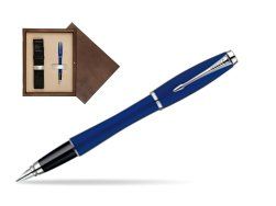 Parker Urban Fashion Bay City Blue Lacquer CT Fountain Pen  single wooden box  Wenge Single Ecru