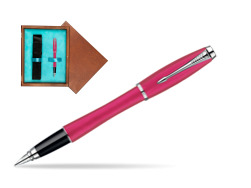 Parker Urban Fashion Cool Magenta Lacquer CT Fountain Pen  single wooden box  Mahogany Single Turquoise
