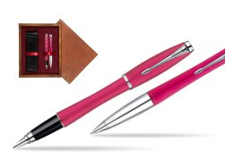 Parker Urban Fashion Cool Magenta Lacquer CT Fountain Pen + Parker Urban Fashion Cool Magenta Lacquer CT Ballpoint Pen in a Gift Box  double wooden box Mahogany Double Maroon