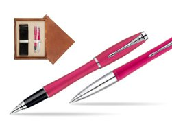 Parker Urban Fashion Cool Magenta Lacquer CT Fountain Pen + Parker Urban Fashion Cool Magenta Lacquer CT Ballpoint Pen in a Gift Box  double wooden box Mahogany Double Ecru
