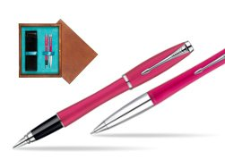 Parker Urban Fashion Cool Magenta Lacquer CT Fountain Pen + Parker Urban Fashion Cool Magenta Lacquer CT Ballpoint Pen in a Gift Box  double wooden box Mahogany Double Turquoise