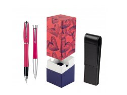 Parker Urban Fashion Cool Magenta Lacquer CT Fountain Pen + Parker Urban Fashion Cool Magenta Lacquer CT Ballpoint Pen in a Gift Box  StandUP Hot Hearts