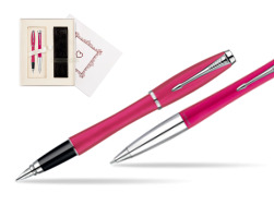 "Parker Urban Fashion Cool Magenta Lacquer CT Fountain Pen + Parker Urban Fashion Cool Magenta Lacquer CT Ballpoint Pen in a Gift Box in Gift Box ""Pure Love"""