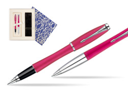 Parker Urban Fashion Cool Magenta Lacquer CT Fountain Pen + Parker Urban Fashion Cool Magenta Lacquer CT Ballpoint Pen in a Gift Box  Universal Crystal Blue
