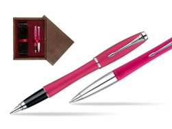 Parker Urban Fashion Cool Magenta Lacquer CT Fountain Pen + Parker Urban Fashion Cool Magenta Lacquer CT Ballpoint Pen in a Gift Box  double wooden box Wenge Double Maroon