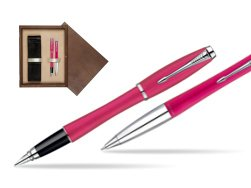 Parker Urban Fashion Cool Magenta Lacquer CT Fountain Pen + Parker Urban Fashion Cool Magenta Lacquer CT Ballpoint Pen in a Gift Box  double wooden box Wenge Double Ecru
