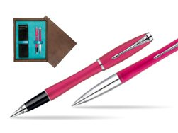 Parker Urban Fashion Cool Magenta Lacquer CT Fountain Pen + Parker Urban Fashion Cool Magenta Lacquer CT Ballpoint Pen in a Gift Box  double wooden box Wenge Double Turquoise