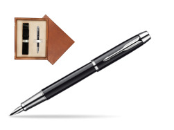 Parker IM Black Lacquer CT Fountain Pen  single wooden box  Mahogany Single Ecru