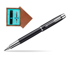 Parker IM Black Lacquer CT Fountain Pen  single wooden box  Mahogany Single Turquoise