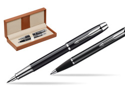 Parker IM Black Lacquer CT Fountain Pen + Parker IM Black Lacquer CT Ballpoint Pen in a Gift Box  in classic box brown