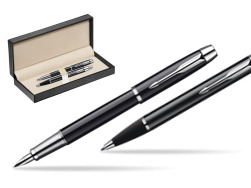 Parker IM Black Lacquer CT Fountain Pen + Parker IM Black Lacquer CT Ballpoint Pen in a Gift Box  in classic box  pure black