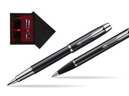 Parker IM Black Lacquer CT Fountain Pen + Parker IM Black Lacquer CT Ballpoint Pen in a Gift Box  double wooden box Black Double Maroon
