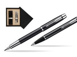 Parker IM Black Lacquer CT Fountain Pen + Parker IM Black Lacquer CT Ballpoint Pen in a Gift Box  double wooden box Black Double Ecru