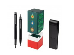 Parker IM Black Lacquer CT Fountain Pen + Parker IM Black Lacquer CT Ballpoint Pen in a Gift Box in gift box StandUP Christmas Tree