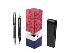 Parker IM Black Lacquer CT Fountain Pen + Parker IM Black Lacquer CT Ballpoint Pen in a Gift Box  StandUP Hot Hearts