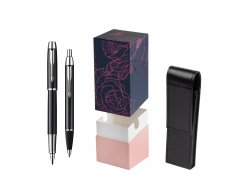 Parker IM Black Lacquer CT Fountain Pen + Parker IM Black Lacquer CT Ballpoint Pen in a Gift Box  StandUP Roses