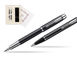 "Parker IM Black Lacquer CT Fountain Pen + Parker IM Black Lacquer CT Ballpoint Pen in a Gift Box  ""Pure Love"""