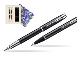 Parker IM Black Lacquer CT Fountain Pen + Parker IM Black Lacquer CT Ballpoint Pen in a Gift Box  Universal Crystal Blue
